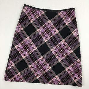 Ann Taylor Loft A-Line Bias Plaid Skirt Size 4